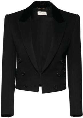 Saint Laurent Wool & Cashmere Flannel Crop Jacket