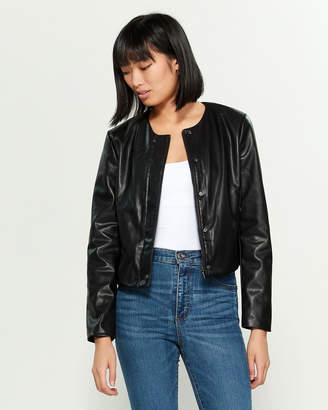 Bagatelle Washed Faux Leather Collarless Jacket