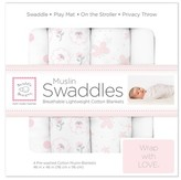 Swaddle Designs Cotton Muslin Swaddle Blankets - Butterflies and Posies - 4pk - Pastel Pink