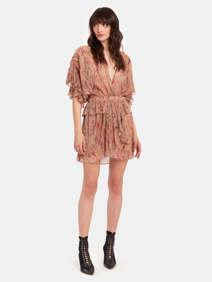 IRO Buoux Metallic Ruffle V-Neck Mini Dress