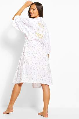boohoo Bride Tribe Printed dressing gown