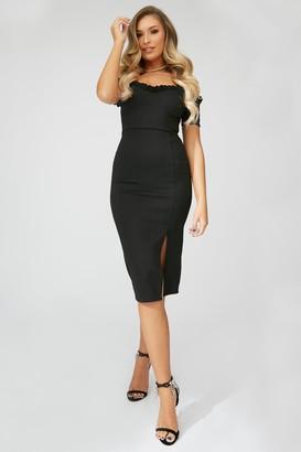 Little Mistress x Zara McDermott Black Frill Bardot Midi Dress
