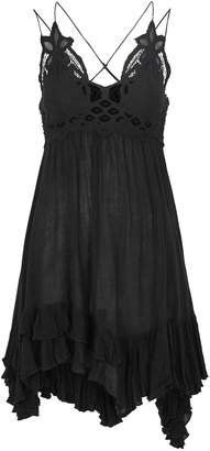 Free People Adella Black Lace-trimmed Mini Dress