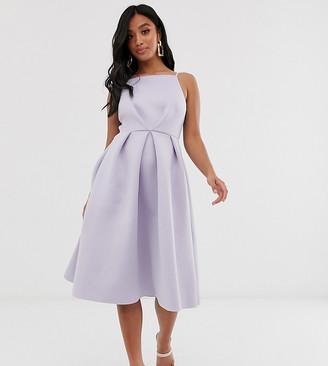 Asos DESIGN Petite bow back midi prom dress-Blue