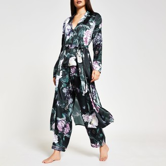 River Island Womens Black long sleeve floral print satin robe