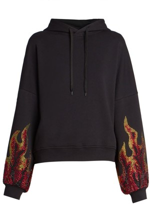 Alexandre Vauthier Rhinestone Flame Cropped Hoodie