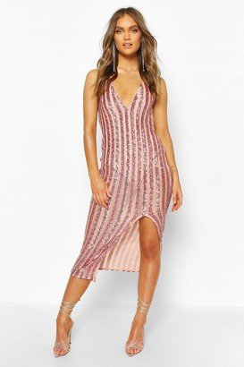 boohoo Occasion Sequin Stripe Midaxi Dress