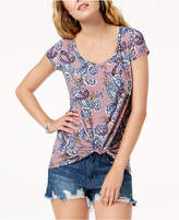 Ultra Flirt Juniors' Printed Knot-Hem Top