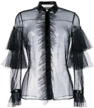 Philosophy di Lorenzo Serafini fishnet and frill trimmed sheer shirt