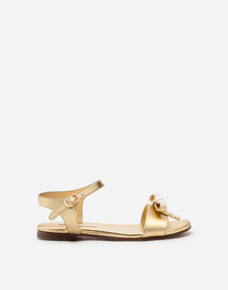 Dolce & Gabbana Ankle Strap Sandals In Laminated Leather With Bow