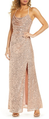 Morgan & Co. Cowl Neck Sequin Crossback Body-Con Gown