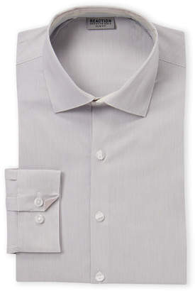 Kenneth Cole Reaction Grey Checked Slim Fit Dress Shirt