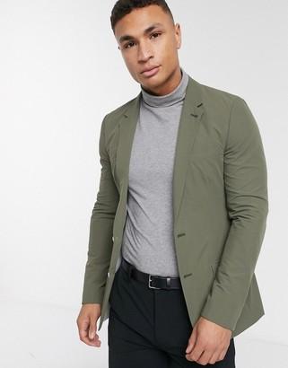 Asos DESIGN casual skinny blazer in khaki