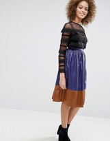Sister Jane Color Block Midi Skirt