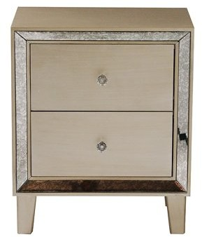 Homeroots 23.5' Champagne Wood Accent Cabinet with 2 Drawers and Antique Mirrored Glass