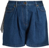 Miu Miu Pleated-front high-rise denim shorts