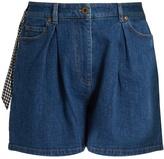 Miu Miu Pleated-front high-rise denim shorts