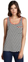 Romeo & Juliet Couture black and white zig-zag print coral trimmed tank