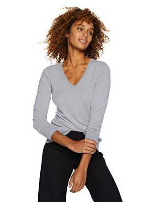 Lark & Ro Women's Long Sleeve V-Neck Sweater