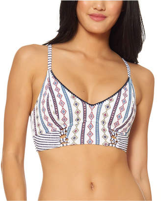 Jessica Simpson Morroccan Stripe Printed Midkini Bikini Top Women Swimsuit