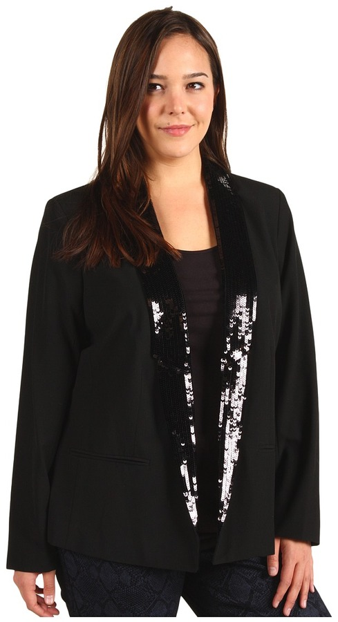 MICHAEL Michael Kors Plus Size Low Sequin Peak Lapel Blazer (Black) - Apparel