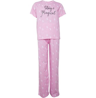 Board Angels Girls Unicorn AOP Short Sleeve Top And Jersey Pants Set Pink