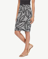 Ann Taylor Cheetah Leaf Piped Pencil Skirt