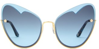Moy Atelier - Naked Heart Cat-eye Gold-plated Sunglasses - Blue