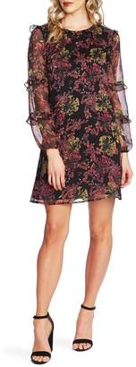 Cece By Cynthia Steffe Floral Symphony Long Sleeve Ruffle Chiffon Dress