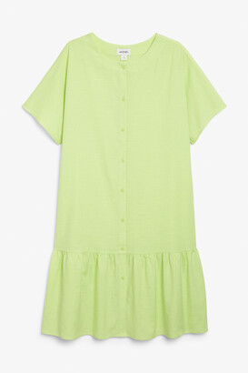 Monki Retro ruffle hem dress