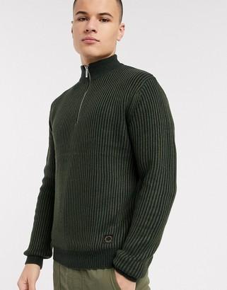 Topman half zip jumper in khaki
