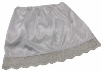 "Fdl Satin Slips Natural Ivory Shimmering Satin and lace Half Waist Slip Underskirt Petticoat Length 15"" (L fits Hip 38""-40"")"