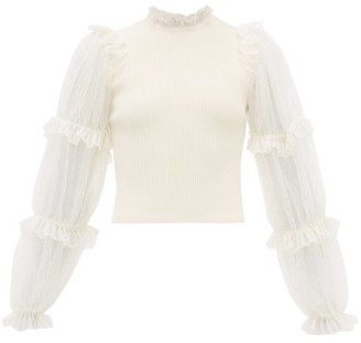 Alexander McQueen Balloon-sleeve Ribbed-jersey Top - Womens - Ivory