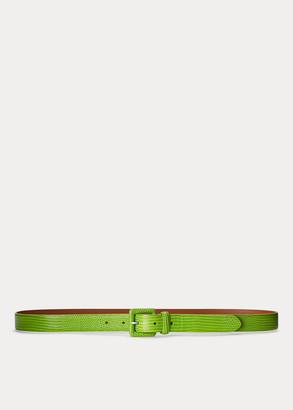 Ralph Lauren Stamped-Calfskin Buckled Belt