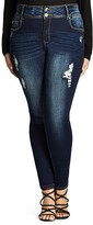 City Chic Soft Rip Skinny Jeans in Dark Denim