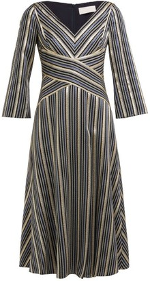 Peter Pilotto Striped Lame-jacquard Dress - Womens - Navy Multi
