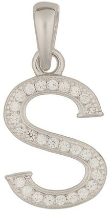 Mocha Letter Pendant With CZ Sterling Silver Charm-S