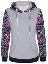 Soficy Floral Long Sleeve Hooded Pullover Hoodies Sweatshirt with Kangaroo Pocket XL