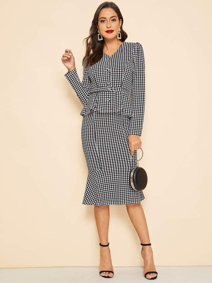 30s Waist Belted Houndstooth Peplum Coat & Skirt Set