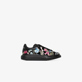 Alexander McQueen Black And Multicoloured Oversized Floral Embroidered Sneakers