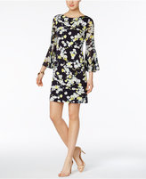 Jessica Howard Floral-Print Bell-Sleeve Shift Dress
