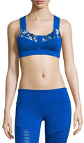 Alo Yoga Paddle Fast Colorblock Printed Sports Bra, Blue