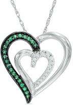 Zales 1/6 CT. T.W. Enhanced Green and White Diamond Tilted Double Heart Pendant in Sterling Silver