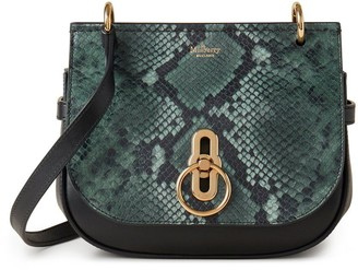 Mulberry Small Amberley Satchel Green and Black Python Print Leather and Silky Calf