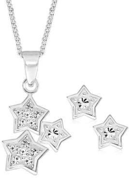 Rhona Sutton 4 Kids Children's Cubic Zirconia Stars Pendant Necklace Stud Earrings Set in Sterling Silver