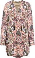Haute Hippie Lace-up printed silk mini dress