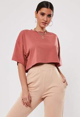 Missguided Brown Drop Shoulder Oversized Crop T Shirt