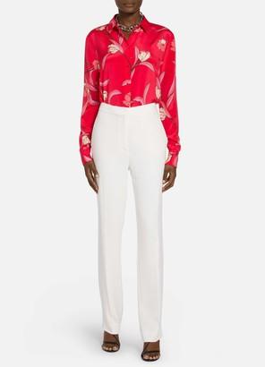 St. John Spring Floral Print Shirt Collar Blouse