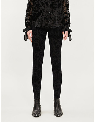 Paige Hoxton patterned skinny high-rise velvet jeans