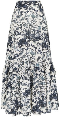 Erdem Althea tiered floral-print skirt